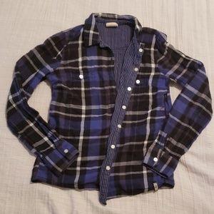Reversable plaid flannel style top